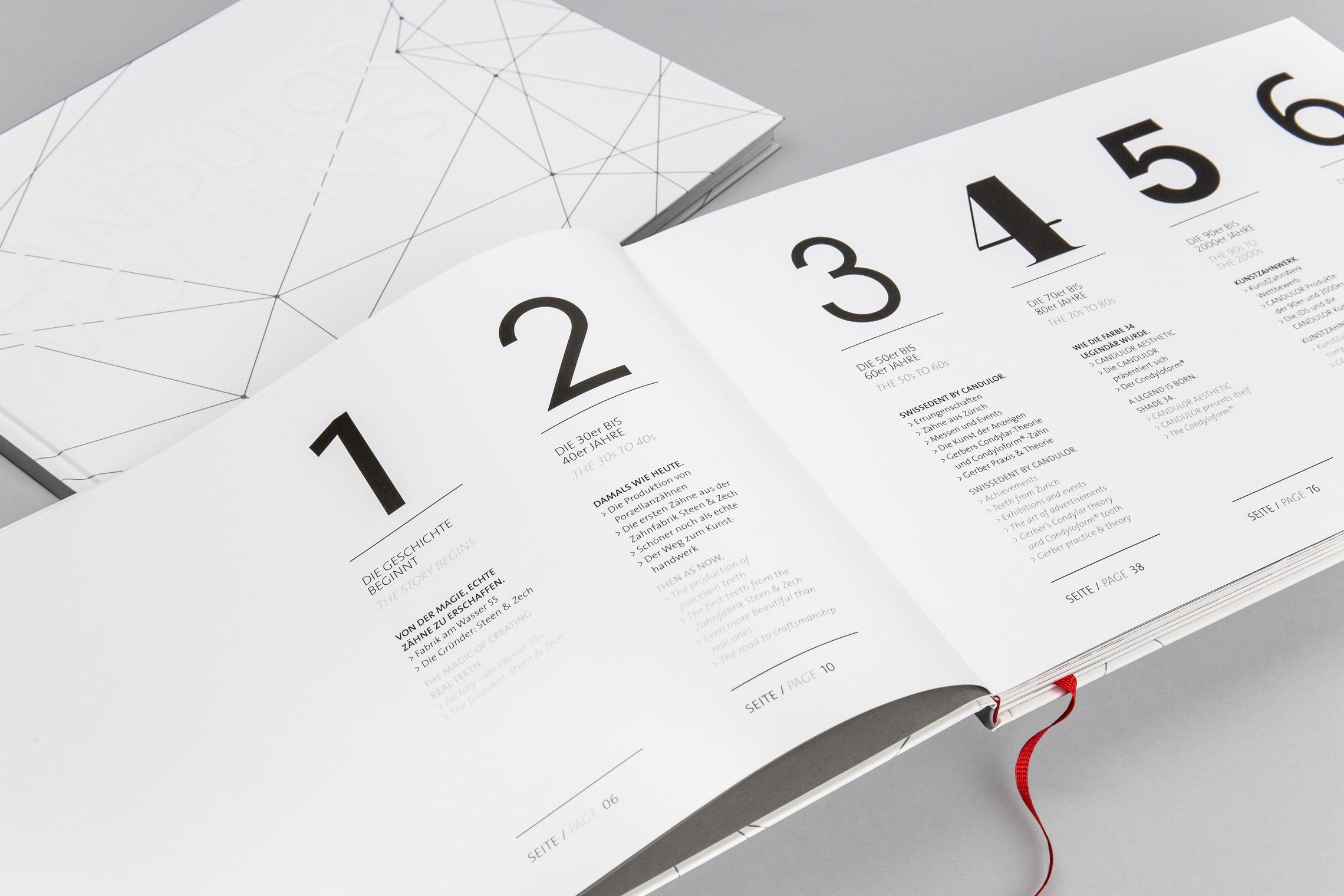 Für das CANDULOR Jubiläumsbuch entwickelt MONOKI ein individuelles Layoutkonzept.
