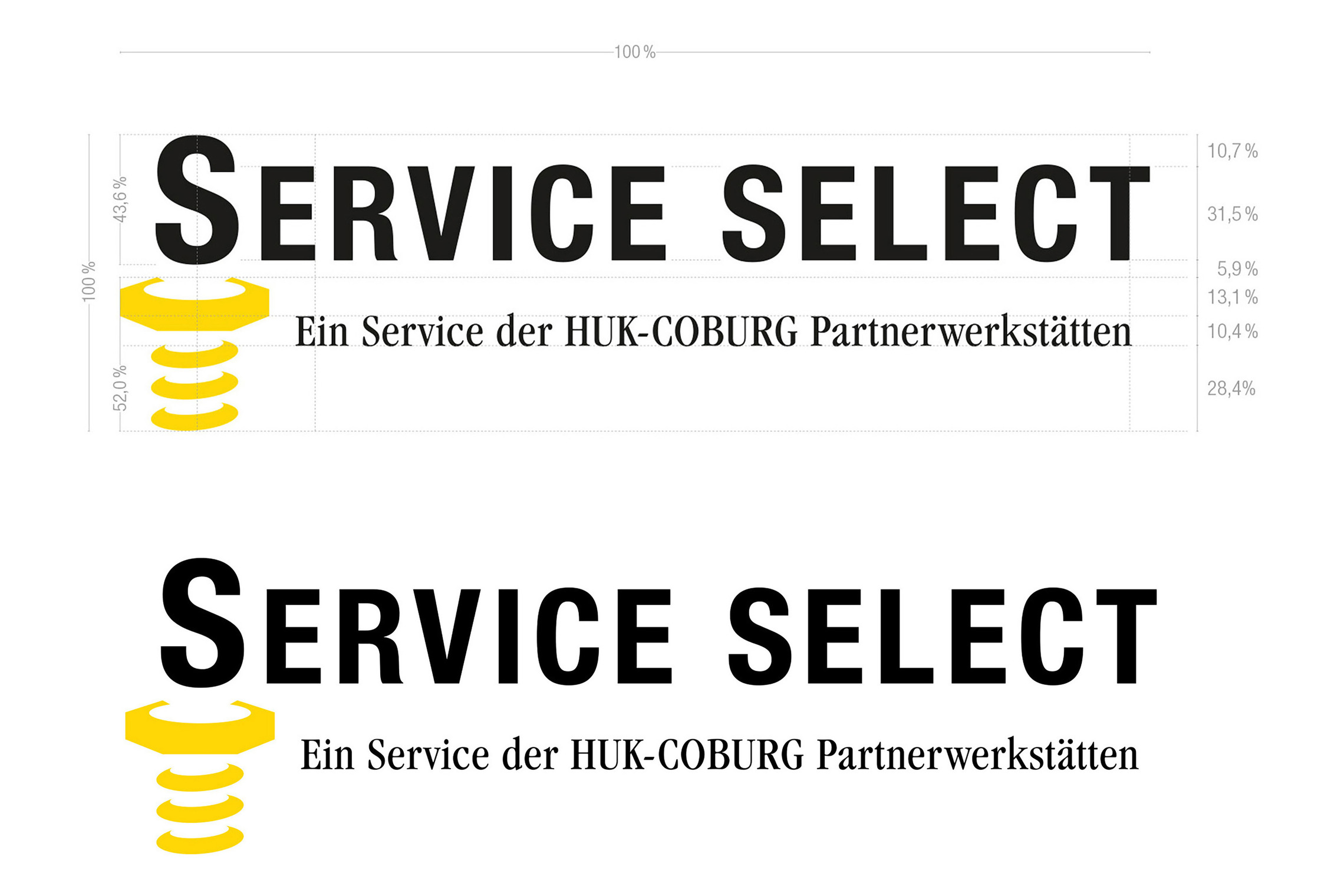 Der Colour Code der Marke HUK-COBURG spiegelt sich auch im Auftritt von »Service Select« wider und gibt den Kunden eine klare Orientierung.