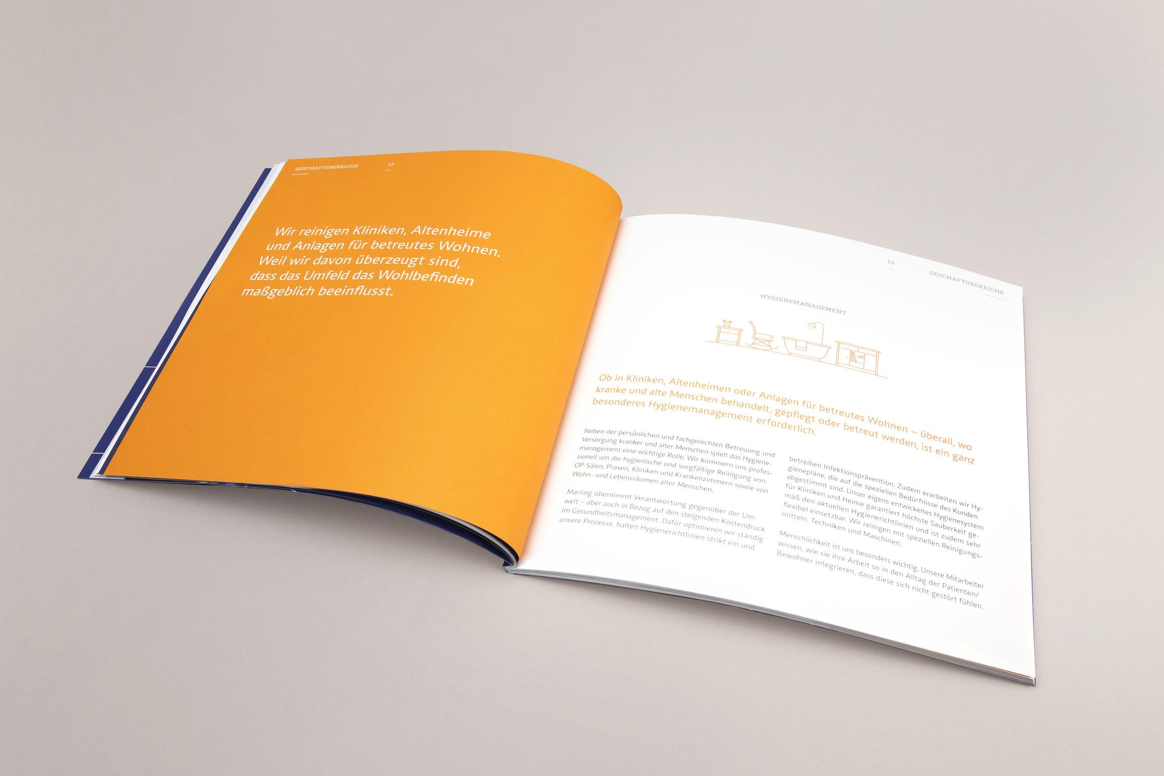 Für jeden Geschäftsbereich wurde ein individuelles Layout entwickelt, das gleichzeitig ein stimmiges Ganzes ergibt.