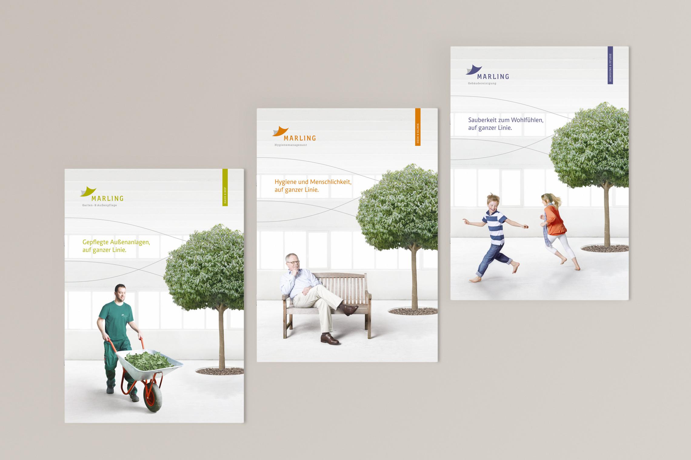 Für die drei Marling Geschäftsbereiche entwickelte MONOKI einen konstanten Unternehmensauftritt.
