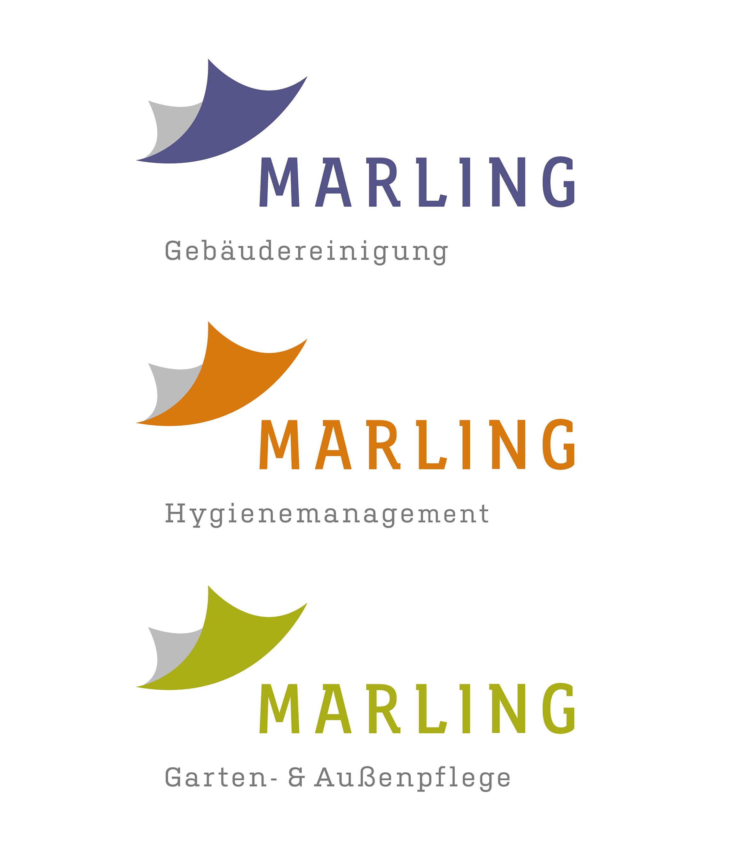 Die drei Marling Unternehmensbereiche differenzieren sich durch verschiedene Farbwelten und bieten so optimale Orientierung.
