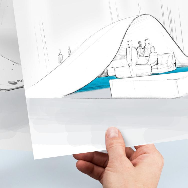 Das Konzept für den Coloplast Messestand zeigt, wie die Produktwelt für die Zielgruppe erlebbar wird.